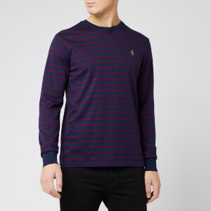 Polo Ralph Lauren Men's Long Sleeve Pima Soft Touch Stripe Top - French Navy/Classic Wine