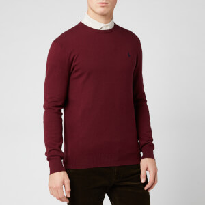 Polo Ralph Lauren Men's Pima Knit Crew Neck Jumper - Classic Wine