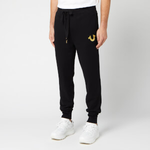 True Religion Men's Double Puff Cuffed Sweat Pants - Black/Gold