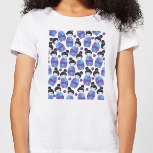 Night Time Geisha Scattered Pattern Women's T-Shirt - White