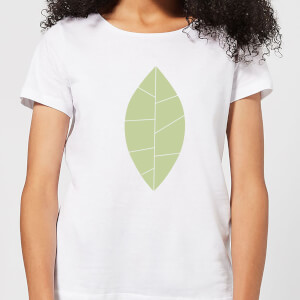 Plain Green Leaf Women's T-Shirt - White