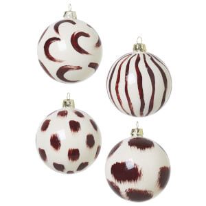 Ferm Living Christmas Hand Painted Glass Ornaments - Red Brown (Set of 4)