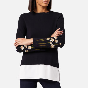 Ted Baker Women's Evetta Pearl Embroidered Mockable Jumper - Dark Blue