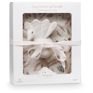 Cam Cam Swaddle and Peacock Rattle Gift Box - Pressed Leaves Rose