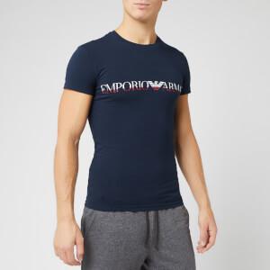 Emporio Armani Men's Mega Logo T-Shirt - Blue