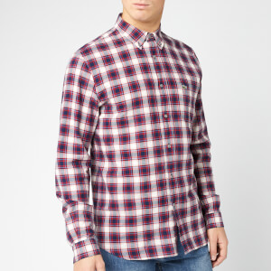 Lacoste Men's Flannel Plaid Shirt - Bordeaux