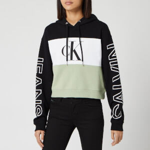 Calvin Klein Jeans Women's Blocking Statement Logo Hoody - CK Black/White/Earth Sage