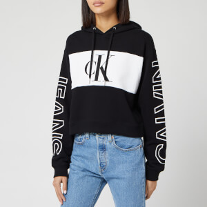 Calvin Klein Jeans Women's Blocking Statement Logo Hoody - CK Black