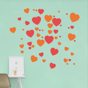 Red And Orange Love Hearts Wall Art Sticker Pack