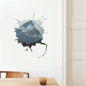 Cracked Scenery Mountain Wall Art Sticker