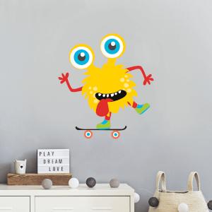 Yellow Monster On Skateboard Wall Art Sticker