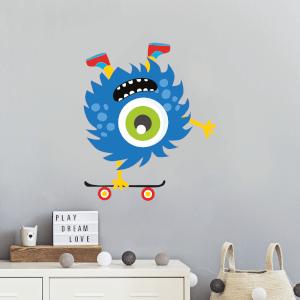 Monster Doing Handstand On Skateboards Wall Art Sticker