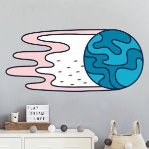 Planet Gliding Through Space Wall Art Sticker