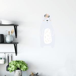 Bear With Flowers On Head Wall Art Sticker