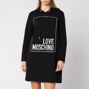 Love Moschino Women's Logo Box Hoody Dress - Black