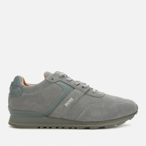 BOSS Men's Parkour Runn Suede Running Style Trainers - Grey