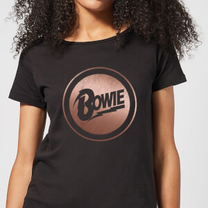 David Bowie Rose Gold Badge Women's T-Shirt - Black