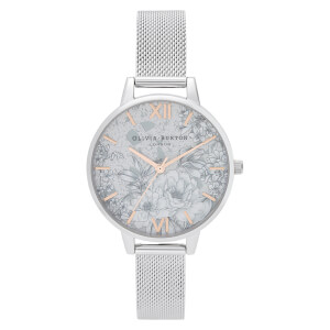 Olivia Burton Women's Terrazzo Florals Mesh Watch - Silver