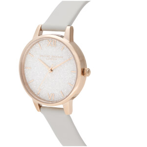 Olivia Burton Women's Glitter Dial Vegan Leather Watch - Pale Gold