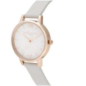 Olivia Burton Women's Glitter Dial Vegan Leather Watch - Pale Gold