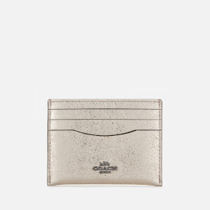Coach Women's Metallic Flat Card Case - Platinum