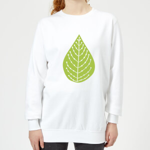Plain Green Spotted Leaf Women's Sweatshirt - White