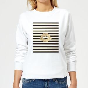 Lipstick Kiss Mark Striped Background Women's Sweatshirt - White
