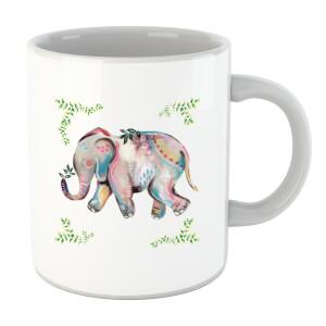 Indian Elephant With Leaf Border Mug