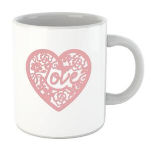 Pink Cut Out Love Heart Mug