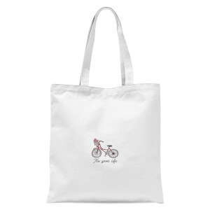 Bicycle The Good Life Pocket Print Tote Bag - White