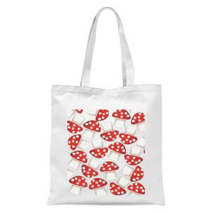 Mushroom Pattern Tote Bag - White