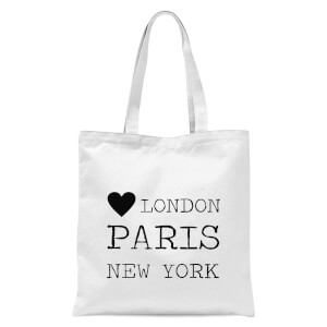Love Heart London Paris New York Tote Bag - White