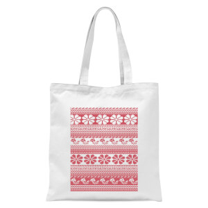 Floral Knitted Pattern Tote Bag - White