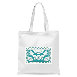Cut Heart Pattern Flower Tote Bag - White