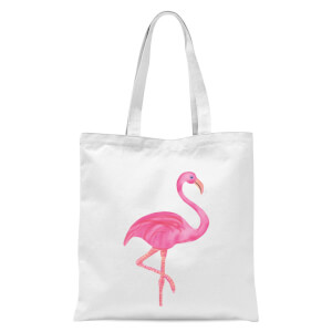 Pink Flamingo Tote Bag - White