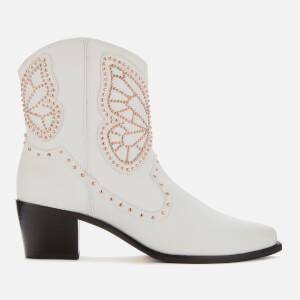 Sophia Webster Women's Shelby Cowboy Boots - White/Rose Gold