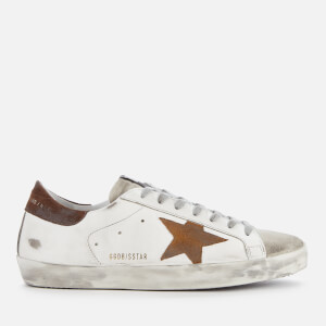 Golden Goose Deluxe Brand Men's Superstar Leather Trainers - White/Brown Suede Star