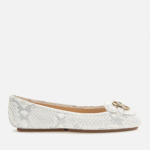 MICHAEL MICHAEL KORS Women's Lillie Moc Python Embossed Leather Flats - Natural