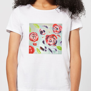 Candlelight Acrylic Painted Flowers Women's T-Shirt - White