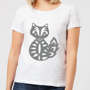 Candlelight Folk Silhouette Fox Cutout Women's T-Shirt - White