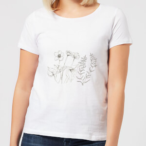 Candlelight Wild Flower Line Art Women's T-Shirt - White