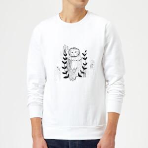 Candlelight Line Art Owl Sweatshirt - White