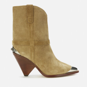 Isabel Marant Women's Lamsy Suede Heeled Ankle Boots - Beige