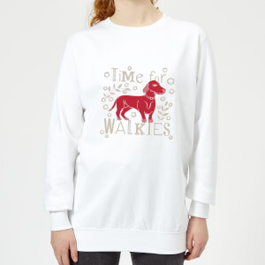 Candlelight Time For Walkies Cutout Sausage Dog Women's Sweatshirt - White