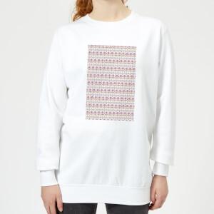 Candlelight Summer Pattern Women's Sweatshirt - White