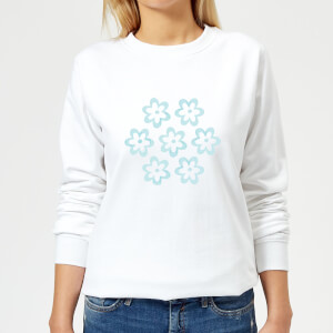 Candlelight Cartoon Pansy Burst Women's Sweatshirt - White