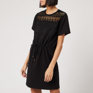 See By Chloé Women's Lace and Fleece Dress - Black