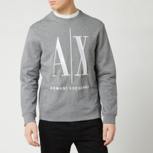 Armani Exchange Men's Large AX Logo Sweatshirt - Grey