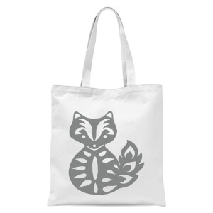 Folk Silhouette Fox Cutout Tote Bag - White