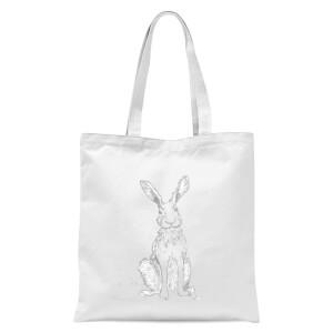 Hare Sketch Tote Bag - White
